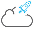 rocket in cloud icon